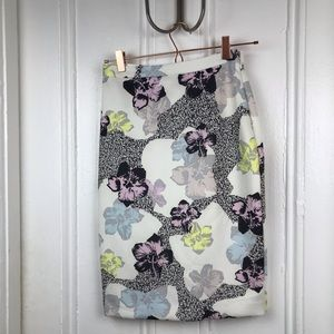Bar III Nordstrom floral pencil skirt purple white
